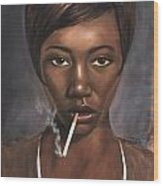 Sister With Cigarette Wood Print