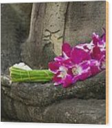 Sitting Buddha In Meditation Position With Fresh Orchid Flowers Wood Print