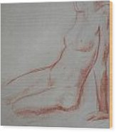 Sitting Woman Wood Print