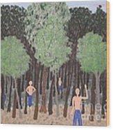 Six Little Cherokee Wood Print