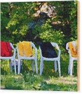 Six Summer Chairs Wood Print