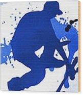Skateboarder Blue Wood Print