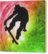 Skateboarder In A Psychedelic Cyclone Wood Print