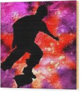 Skateboarder In Cosmic Clouds Wood Print
