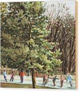 Skaters Wood Print by Peter Sit
