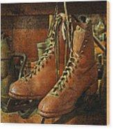 Skates Wood Print by Karen Lynch