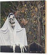 Skeleton Ghost Wood Print