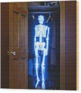 Skeleton In The Closet Wood Print by Tony Cordoza