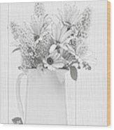 Sketched Vase Of Flowers Wood Print