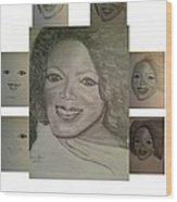 Sketching Oprah Wood Print