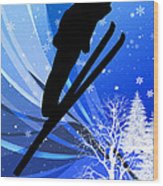 Ski Jumping In The Snow Wood Print