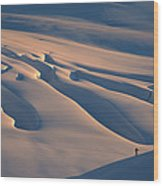 Skier And Crevasse Patterns At Sunset Wood Print