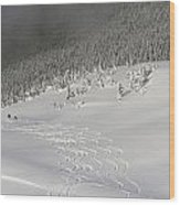 Skiers At The Base Of A Mountain Wood Print