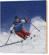 Skiing Down The Mountain Wood Print