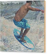 Skimboardin' In Dewey Wood Print