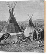Skin Tepees, Shoshone Indians. Ca Wood Print by Everett