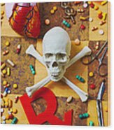 Skull And Bones With Medical Icons Wood Print