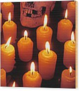 Skull And Candles Wood Print