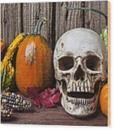 Skull And Gourds Wood Print