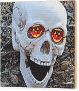 Skull Halloween Card Wood Print by Debra     Vatalaro