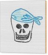 Skull In Blue Bandanna Wood Print by Jeannie Atwater Jordan Allen