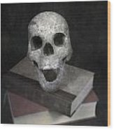 Skull On Books Wood Print by Joana Kruse