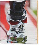 Skull With Top Hat Hood Ornament Wood Print