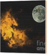 Sky And Moon Wood Print