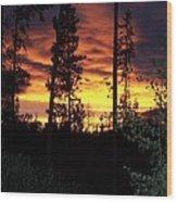 Sky On Fire Wood Print