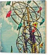 Sky Wheel Carnival Ride Wood Print
