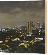 Skyline Of A Part Of Singapore At Night Wood Print