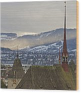 Skyline Of Zurich From The University Wood Print