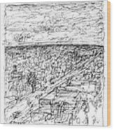 Skyline Sketch Wood Print