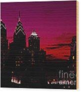 Skylline Of Philadelphia Pennsylvania Wood Print