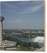 Skylone Tower And Niagara Falls Wood Print