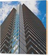 Skyscraper Front View With Blue Sky Wood Print