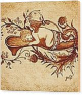 Sleeping Angel Original Coffee Painting Wood Print