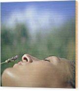 Sleeping Woman's Face Wood Print