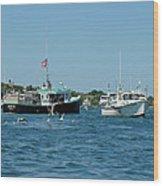 Sleepy Boats At Chatham - Cape Cod  Ma Wood Print
