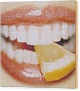 Slice Of Lemon Between Teeth Wood Print