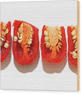 Sliced Red Peppers Wood Print