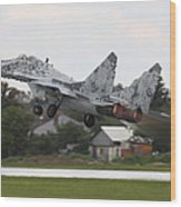 Slovak Air Force Mig-29 Fulcrum Taking Wood Print