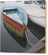 Small Boat In Harbor Wood Print