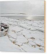 Small Boat Sits On Ice Chuncks In Wellfleet On Cape Cod In Winte Wood Print