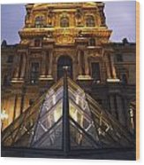 Small Glass Pyramid Outside The Louvre Wood Print by Axiom Photographic