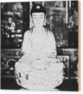 Small Golden Buddha Statue In Monastery Of Ten Thousand Buddhas Sha Tin New Territories Hong Kong Wood Print