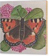 Small Tortoiseshell Butterfly Wood Print