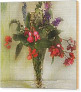 Small Vase Of Flowers Wood Print