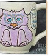 Smart Kitty Mug Wood Print