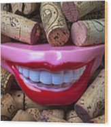 Smile Among Wine Corks Wood Print